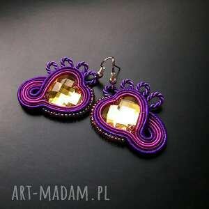 serduszka w purpurze - małe kolczyki sutasz