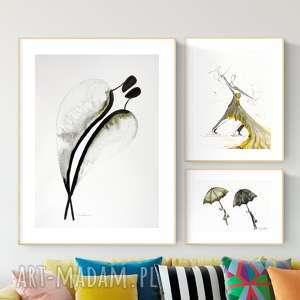 Zestaw 3 oryginalnych grafiki, abstrakcja, elegancki minimalizm