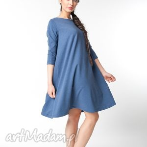 s/m sukienka typu klosz wiosenna indygo, dresowa, dzianinowa, luźna, trapezowa,