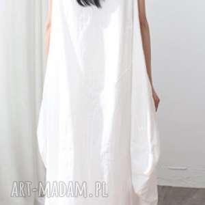 sukienki lniana biała sukienka oversize, sukienka, bawełna, len, lato, oversize