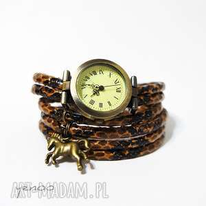 Zegarek, bransoletka - brązowy, wężowy koń zegarki yenoo