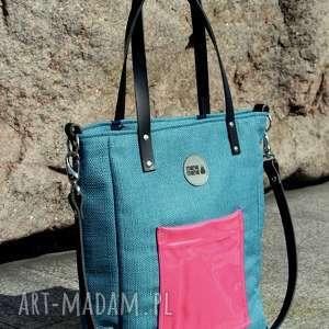 torba damska cuboid morska z malinową kieszonką, elegancka torebka