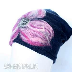 Prezent czapka wełniana damska czarna, wełna, czapka, boho, etno, prezent, ciepła