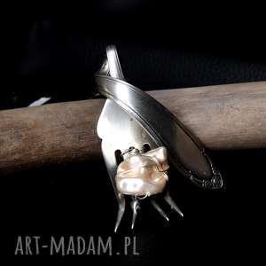 Widelec wisior srebro plater perła majorka wisiorki anetadsng