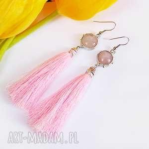 Kwarc różowy z chwostem, długie, frędzel, chwosty, kwarc, kamień, pastelowe
