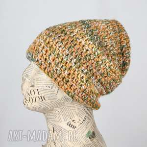 ręcznie zrobione czapki czapka włóczka kolorowa ciepła beanie 020