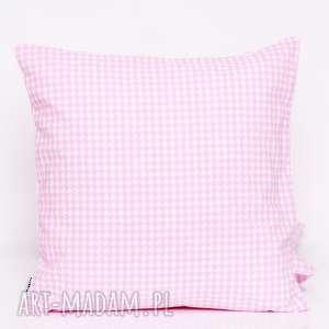 poduszka pepitka pink 40x40cm jasiek, od majunto, pepitka, różowa