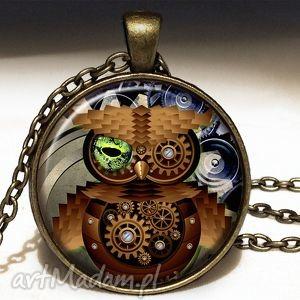 ręcznie zrobione naszyjniki steampunkowa sowa - duży medalion z łańcuszkiem