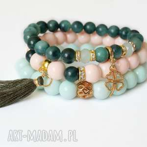 set tropical emerald agates, mint nude with tassel, set, zestaw