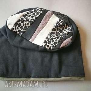 czapka damska dzianina patchwork - czapa, etno, folk, sport, dzianina, boho