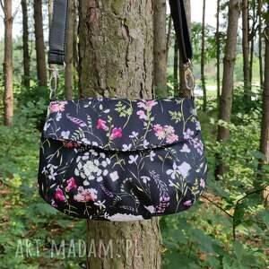 torebka z klapką - polne kwiaty, elegancka, nowoczesna, pakowna