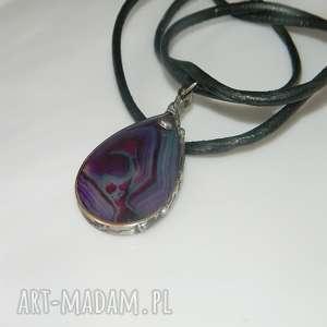 fioletowy agat-N32, wisior, agat, unikatowa-biżuteria, unikalny-wisior