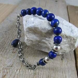 lapis lazuli - bransoletka 444, srebro oksydowane, srebro, bransoletka