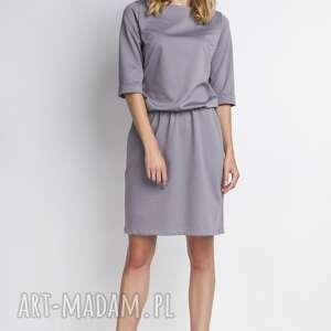 Sukienka, SUK129 szary, casual, wygoda, gumka, luźna