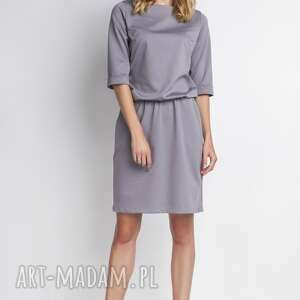 klasyczna sukienka, suk129 szary, casual, wygoda, gumka, luźna