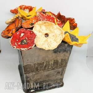 ceramika wielki zestaw kwiaty ceramikiczne w donicy ceramiczne