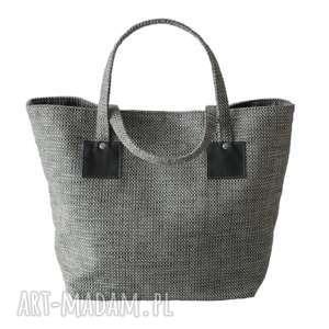 37-0007 Biało-szara torebka shopper bag 3w1 / ekologiczna torba na zakupy OWL
