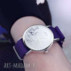 zegarek - żurawie sumi-e fioletowy, nylonowy, zegarek, nylonowy pasek, typ