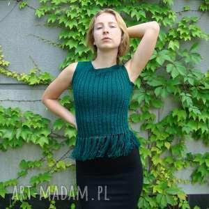 bluzka z frędzlami - butelkowa zieleń, bluzka, bluzeczka, bezrękawnik, kamizelka