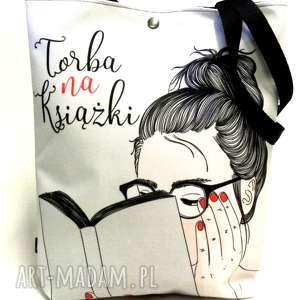 torba na książki, torba, napis, pojemna ramię