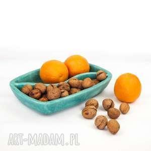 Miętowy dzielony półmisek, miska, ceramika