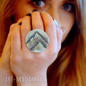 Z miłości do gór, pierścień z górami , góry, srebro, szczyty, miłośnik-gór, natura
