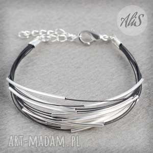 Srebro i czerń - ,srebro,czarna,elegancka,lekka,delikatna,