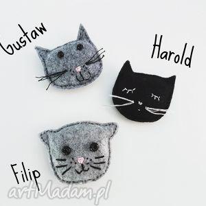 kot harold filcowa broszka - broszka, filcowa, kot, kotek, cat