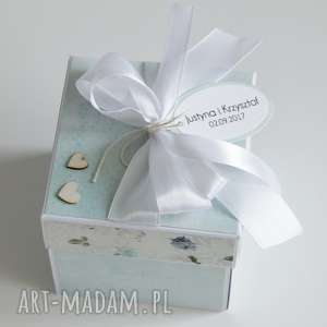 ręcznie zrobione scrapbooking kartki pudełko - niespodzianka - na ślub