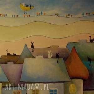obraz na płótnie - bajkowe miasteczko kotów iii 30/40 cm, abstrakcja
