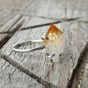 lemon - srebrny pierścionek z cytrynem, srebrny, cytryn, kwarc