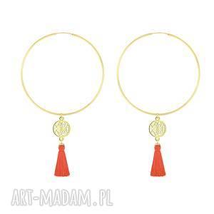 handmade kolczyki kolczyki koła z rozetą i chwostem - pomarańczowe - boho
