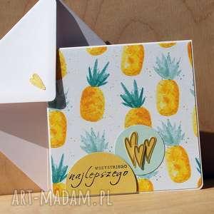 kartka z ananasami - ananasy, pineapple, życzenia, owocowa, słodka, urodzinowa