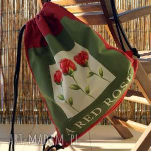 happyart plecak / worek - red rose, róża, plecak, miejski, prezent, worek, vege