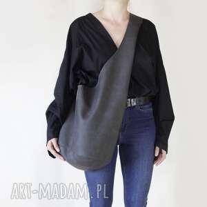 short boogi bag - torba w stylu boho na ramię, grafitowa, przecierana, boho, hobo