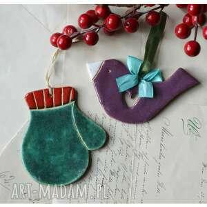 ceramika zestaw mikołajkowy xv, ceramika, rękawiczka, ptaszek, święta, mikołajki