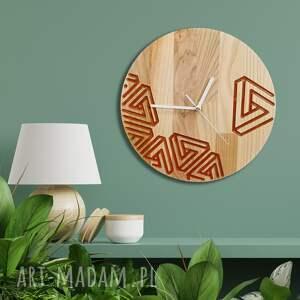 zegar z drewna dębowego, żywica, wzór geom 2, ścienny, loft, żywica