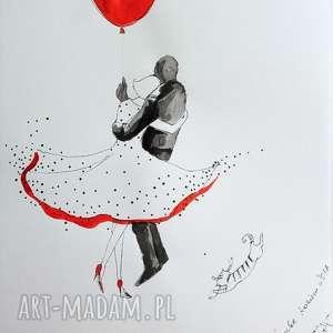 hand made obrazy praca akwarelą i piórkiem latający kot artystki plastyka adriany laube