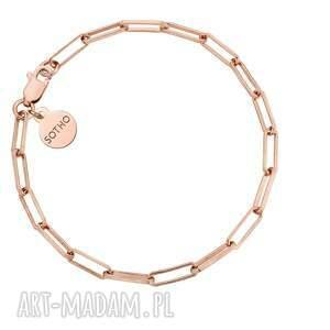masywna bransoletka z różowego złota, prostokąty, masywna, łańcuch, pozłacana