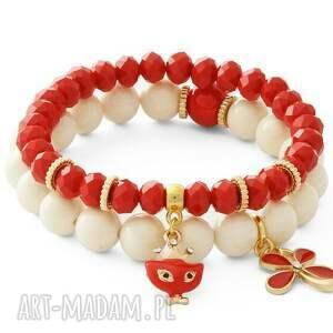 ivory jade & red crystals with pendants - kryształek, jadeit, kotek