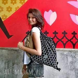 plecak welurowy morocco black, plecak, worek, workoplecak, orientalny, maroko