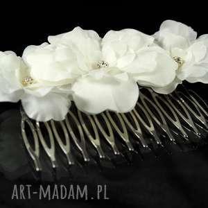 hand-made ozdoby do włosów grzebyk z jedwabnymi kwiatami