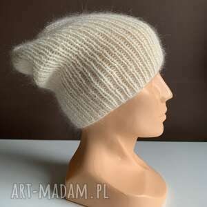 czapki ręcznie robiona czapka hand made ściągacz 100 baby merino plus moher