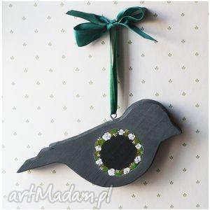 ręcznie robione zwierzaki ptak drewniany ciemnoszary