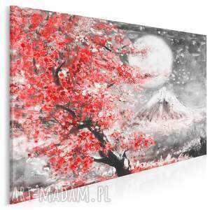 obraz na płótnie - japonia wiśnia pejzaż czewrwony 120x80 cm 89906