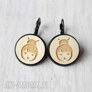 drewniane kolczyki geisha, kolczyki, drewniane, ekologiczne, japonia