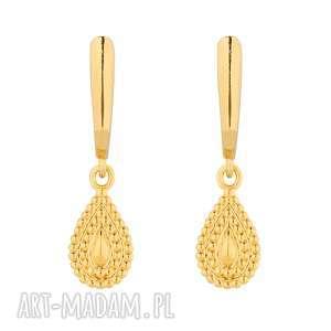 sotho złote kolczyki z łezkami - łezki, zapinane, bigle