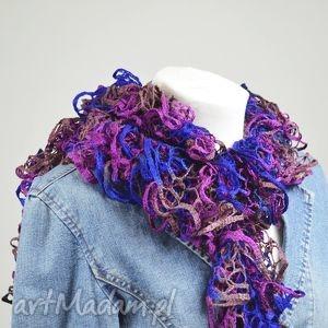 fantazyjny szal - fiolet z niebieskim - szalik, delikatny, fiolet, niebieski, fantazyjny