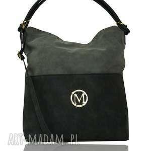 handmade torebki duży worek torebka manzana - muflon siwa/czarna