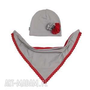cienki wiosenny komplet dla dziewczynki czapka, komin - czapka, chusta, jesien